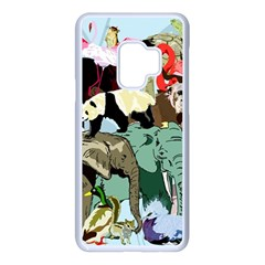Zoo Animals Peacock Lion Hippo Samsung Galaxy S9 Seamless Case(white)