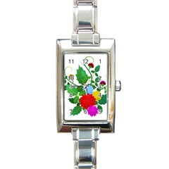 Flowers Floral Plants Nature Rectangle Italian Charm Watch
