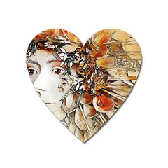 Collage Art The Statue Of Shell Heart Magnet by Pakrebo