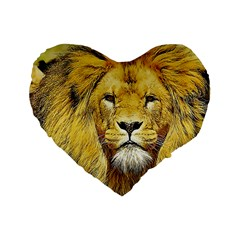 Lion Lioness Wildlife Hunter Standard 16  Premium Flano Heart Shape Cushions