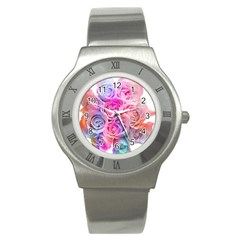 Rose Bouquet Flower Petal Floral Stainless Steel Watch