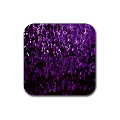 Sequins  White Purple Rubber Coaster (square)
