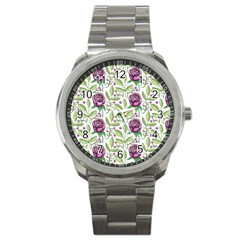 Default Texture Background Floral Sport Metal Watch by Pakrebo