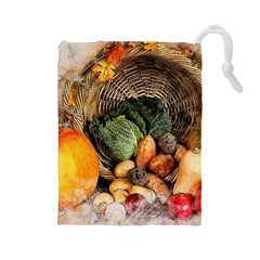 Pumpkin Vegetables Autumn Drawstring Pouch (large)