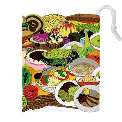 Eat Food Background Art Color Drawstring Pouch (xxxl)