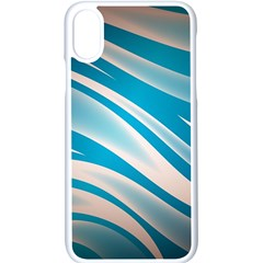Background Abstract Blue Wavy Iphone Xs Seamless Case (white)