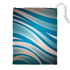 Background Abstract Blue Wavy Drawstring Pouch (xxxl)