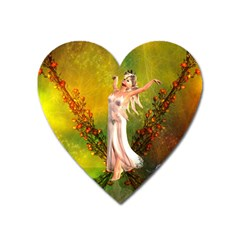 Beautiful Fairy With Wonderful Flowers Heart Magnet by FantasyWorld7