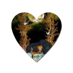 Cute Fairy With Awesome Wolf In The Night Heart Magnet by FantasyWorld7