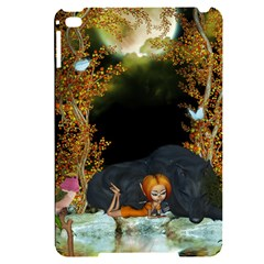 Cute Fairy With Awesome Wolf In The Night Apple Ipad Mini 4 Black Uv Print Case
