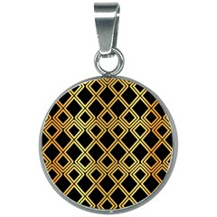 Arabic Pattern Gold And Black 20mm Round Necklace