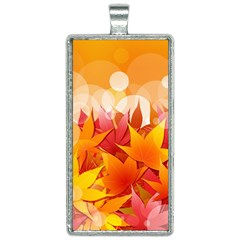 Autumn Background Maple Leaves Bokeh Rectangle Necklace