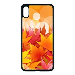 Autumn Background Maple Leaves Bokeh Iphone Xs Max Seamless Case (black)