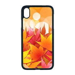 Autumn Background Maple Leaves Bokeh Iphone Xr Seamless Case (black)