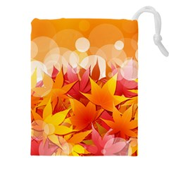 Autumn Background Maple Leaves Bokeh Drawstring Pouch (xxxl)