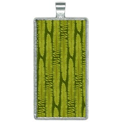 Fern Texture Nature Leaves Rectangle Necklace