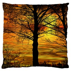 Nature Sunset Landscape Sun Large Flano Cushion Case (one Side)