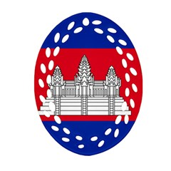 National Flag Of Cambodia Oval Filigree Ornament (two Sides) by abbeyz71