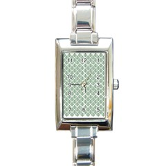 Green Leaf Pattern Rectangle Italian Charm Watch