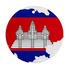 Flag Map Of Cambodia Ornament (round) by abbeyz71