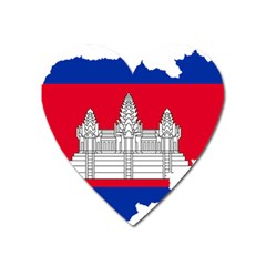 Flag Map Of Cambodia Heart Magnet by abbeyz71