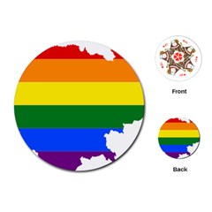 Lgbt Flag Map Of Cambodia Playing Cards (round) by abbeyz71