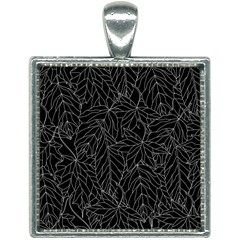 Autumn Leaves Black Square Necklace by Jojostore
