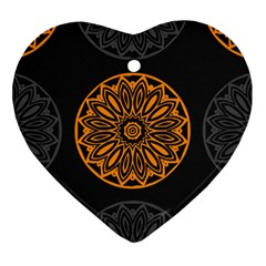 Background Design Pattern Tile Heart Ornament (two Sides)
