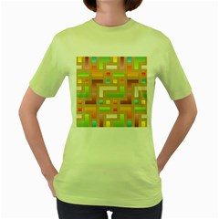 Abstract Background Colorful Women s Green T-shirt by HermanTelo