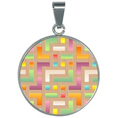 Abstract Background Colorful 30mm Round Necklace by HermanTelo