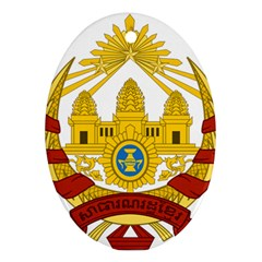 Coat Of Arms Of Khmer Republic, 1970-1975 Oval Ornament (two Sides) by abbeyz71