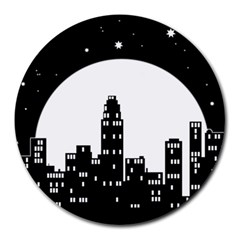 City Night Moon Star Round Mousepads