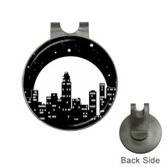 City Night Moon Star Hat Clips With Golf Markers by HermanTelo