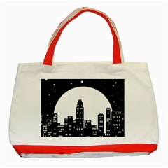 City Night Moon Star Classic Tote Bag (red) by HermanTelo