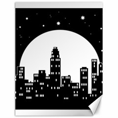 City Night Moon Star Canvas 12  X 16  by HermanTelo