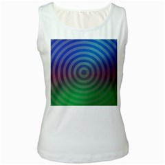 Blue Green Abstract Background Women s White Tank Top