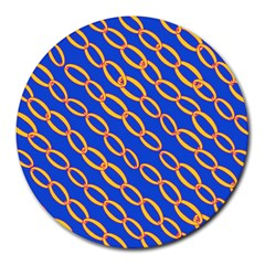 Blue Abstract Links Background Round Mousepads