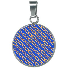 Blue Abstract Links Background 20mm Round Necklace by HermanTelo