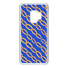 Blue Abstract Links Background Samsung Galaxy S9 Seamless Case(white) by HermanTelo