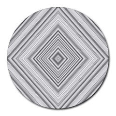 Black White Grey Pinstripes Angles Round Mousepads