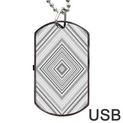 Black White Grey Pinstripes Angles Dog Tag Usb Flash (two Sides) by HermanTelo