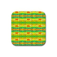 Birds Beach Sun Abstract Pattern Rubber Coaster (square)  by HermanTelo