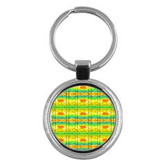 Birds Beach Sun Abstract Pattern Key Chain (round) by HermanTelo