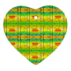 Birds Beach Sun Abstract Pattern Heart Ornament (two Sides)