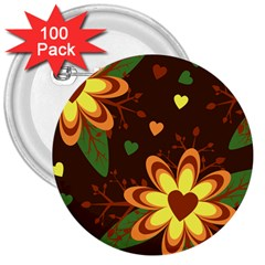 Floral Hearts Brown Green Retro 3  Buttons (100 Pack)  by HermanTelo