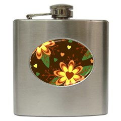 Floral Hearts Brown Green Retro Hip Flask (6 Oz) by HermanTelo