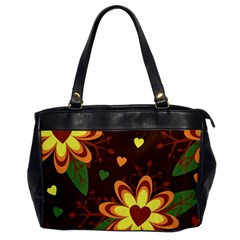 Floral Hearts Brown Green Retro Oversize Office Handbag by HermanTelo