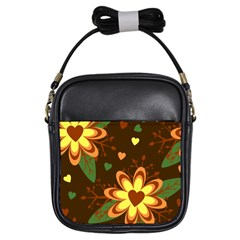 Floral Hearts Brown Green Retro Girls Sling Bag by HermanTelo