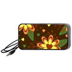 Floral Hearts Brown Green Retro Portable Speaker