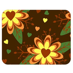 Floral Hearts Brown Green Retro Double Sided Flano Blanket (medium)